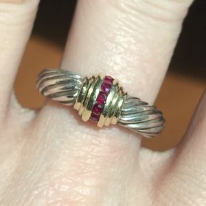 David Yurman Ruby Princess 14K Silver Cable Ring